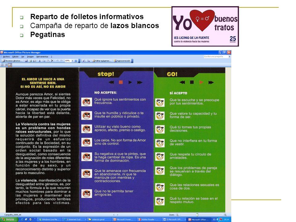 Reparto de folletos informativos Campaña de reparto de lazos blancos Pegatinas