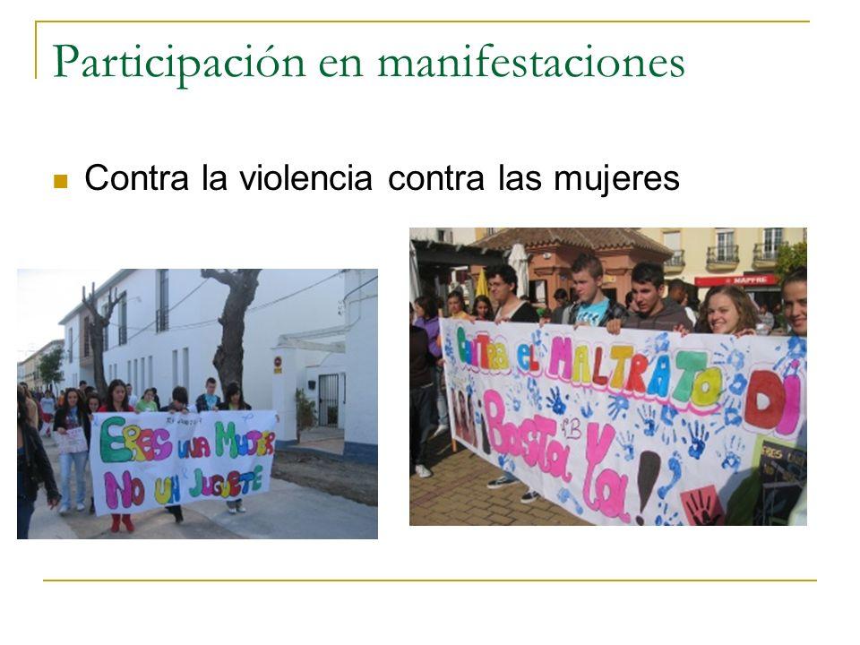 Participación en manifestaciones Contra la violencia contra las mujeres