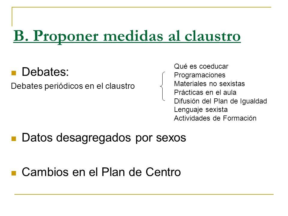 B. Proponer medidas al claustro Debates: Debates periódicos en el claustro Datos desagregados por sexos Cambios en el Plan de Centro Qué es coeducar P
