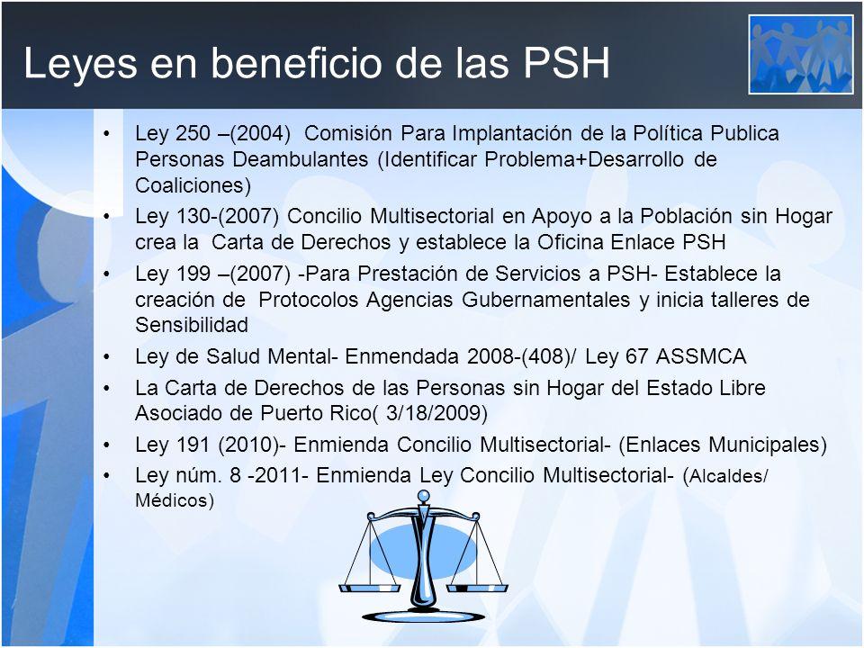 Leyes en beneficio de las PSH Ley 250 –(2004) Comisión Para Implantación de la Política Publica Personas Deambulantes (Identificar Problema+Desarrollo