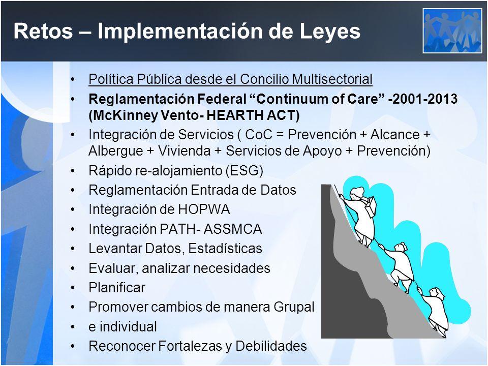 Retos – Implementación de Leyes Política Pública desde el Concilio Multisectorial Reglamentación Federal Continuum of Care -2001-2013 (McKinney Vento-