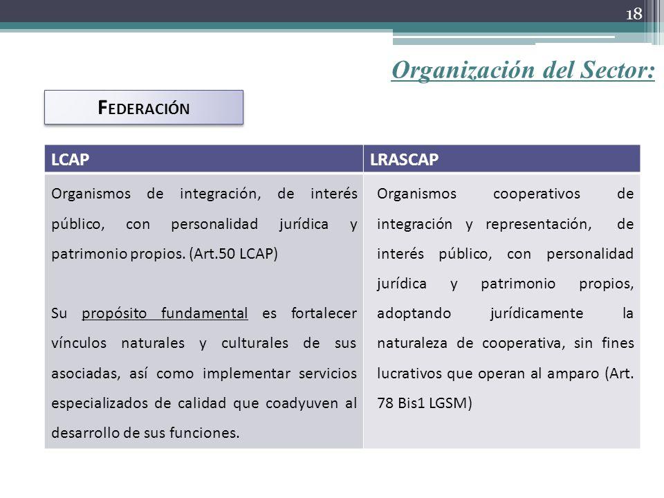 Organización del Sector: F EDERACIÓN LCAPLRASCAP Organismos de integración, de interés público, con personalidad jurídica y patrimonio propios. (Art.5