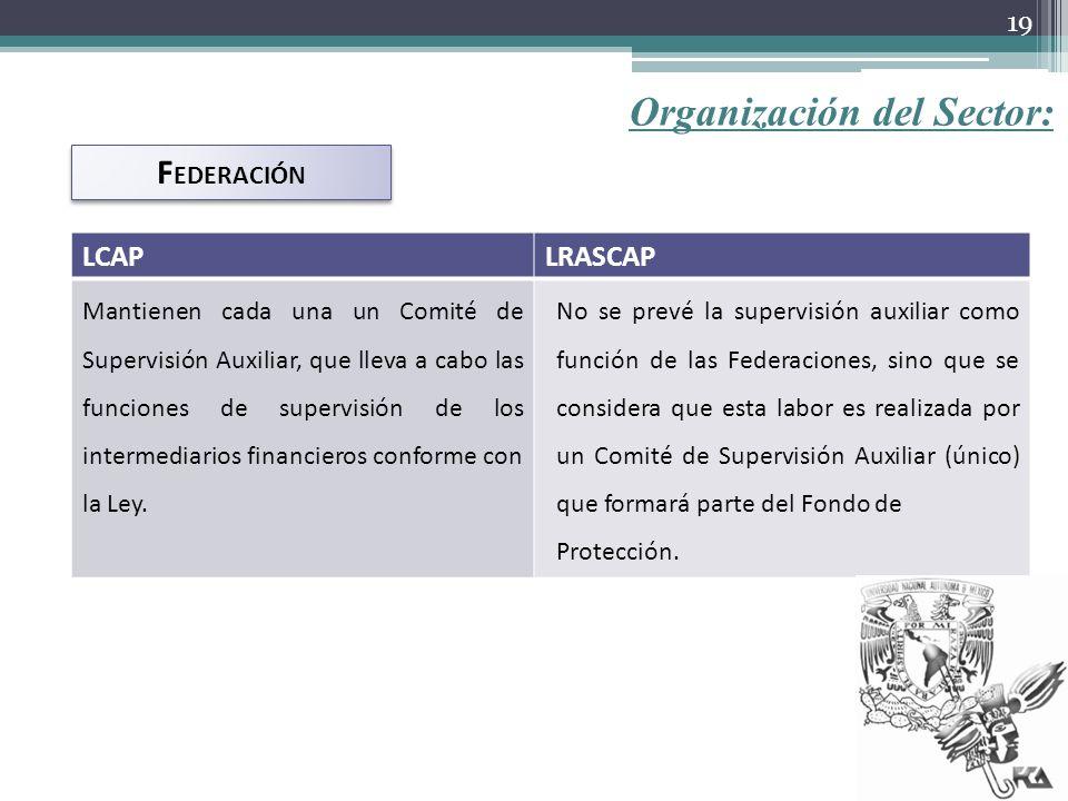 Organización del Sector: F EDERACIÓN LCAPLRASCAP Mantienen cada una un Comité de Supervisión Auxiliar, que lleva a cabo las funciones de supervisión d