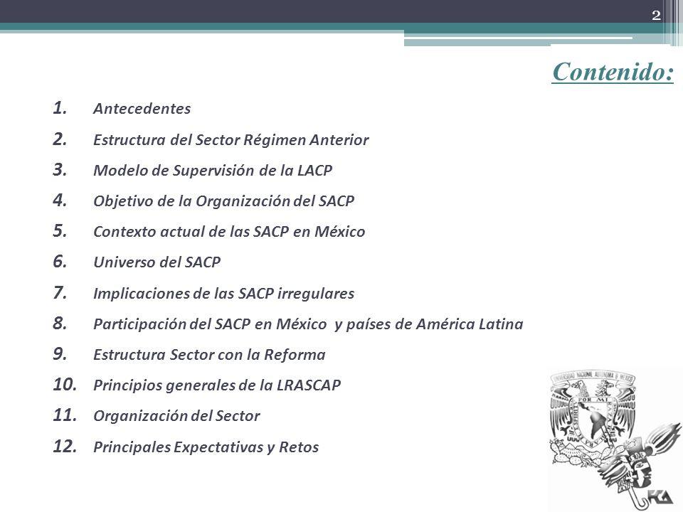 Contenido: 1. Antecedentes 2. Estructura del Sector Régimen Anterior 3. Modelo de Supervisión de la LACP 4. Objetivo de la Organización del SACP 5. Co