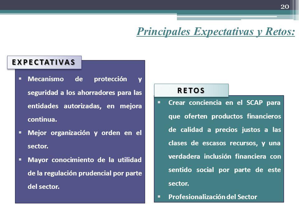 Principales Expectativas y Retos: Mecanismo de protección y seguridad a los ahorradores para las entidades autorizadas, en mejora continua. Mejor orga