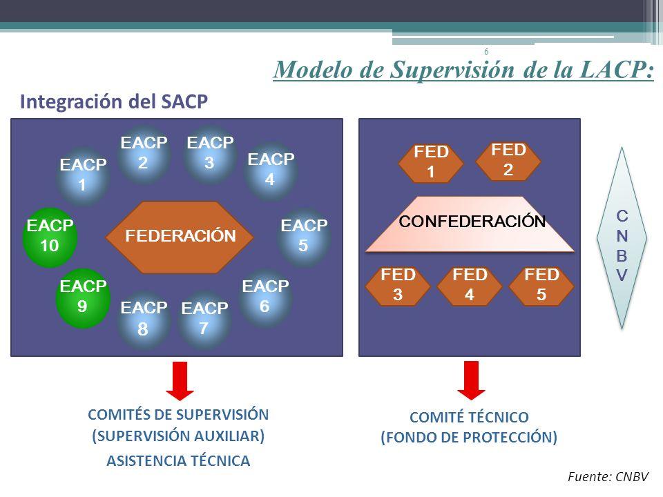 6 FEDERACIÓN EACP 1 EACP 9 EACP 4 EACP 6 EACP 5 EACP 10 EACP 8 EACP 2 EACP 3 EACP 7 COMITÉS DE SUPERVISIÓN (SUPERVISIÓN AUXILIAR) ASISTENCIA TÉCNICA C