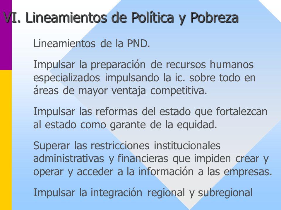 Lineamientos de la PND. Impulsar la preparación de recursos humanos especializados impulsando la ic. sobre todo en áreas de mayor ventaja competitiva.