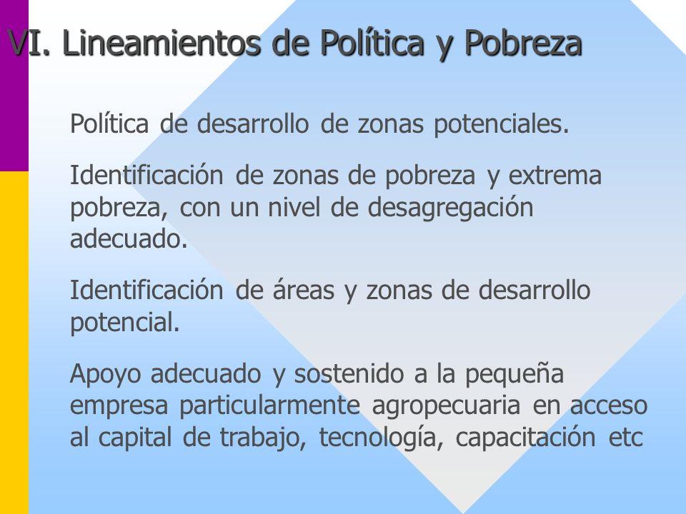 Política de desarrollo de zonas potenciales. Identificación de zonas de pobreza y extrema pobreza, con un nivel de desagregación adecuado. Identificac