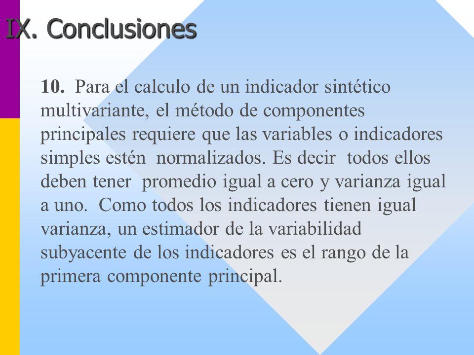 10. Para el calculo de un indicador sintético multivariante, el método de componentes principales requiere que las variables o indicadores simples est