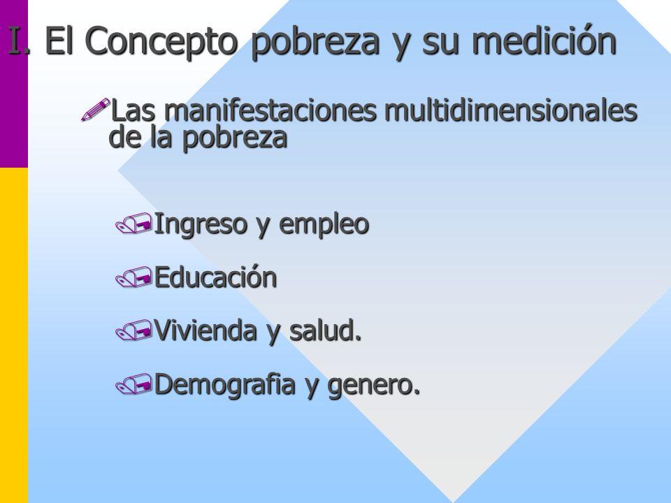 !Las manifestaciones multidimensionales de la pobreza /Ingreso y empleo /Educación /Vivienda y salud. /Demografia y genero. I. El Concepto pobreza y s