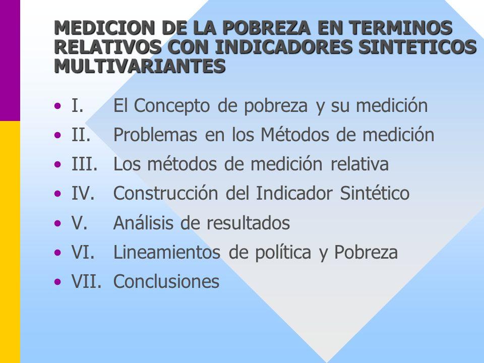 MEDICION DE LA POBREZA EN TERMINOS RELATIVOS CON INDICADORES SINTETICOS MULTIVARIANTES I.El Concepto de pobreza y su medición II.Problemas en los Méto