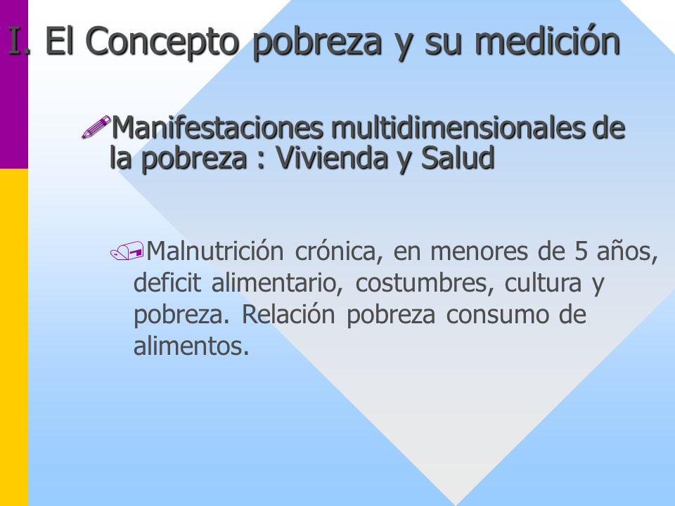 /Malnutrición crónica, en menores de 5 años, deficit alimentario, costumbres, cultura y pobreza. Relación pobreza consumo de alimentos. I. El Concepto