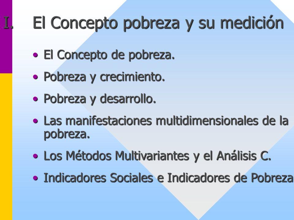 I.El Concepto pobreza y su medición El Concepto de pobreza.El Concepto de pobreza. Pobreza y crecimiento.Pobreza y crecimiento. Pobreza y desarrollo.P