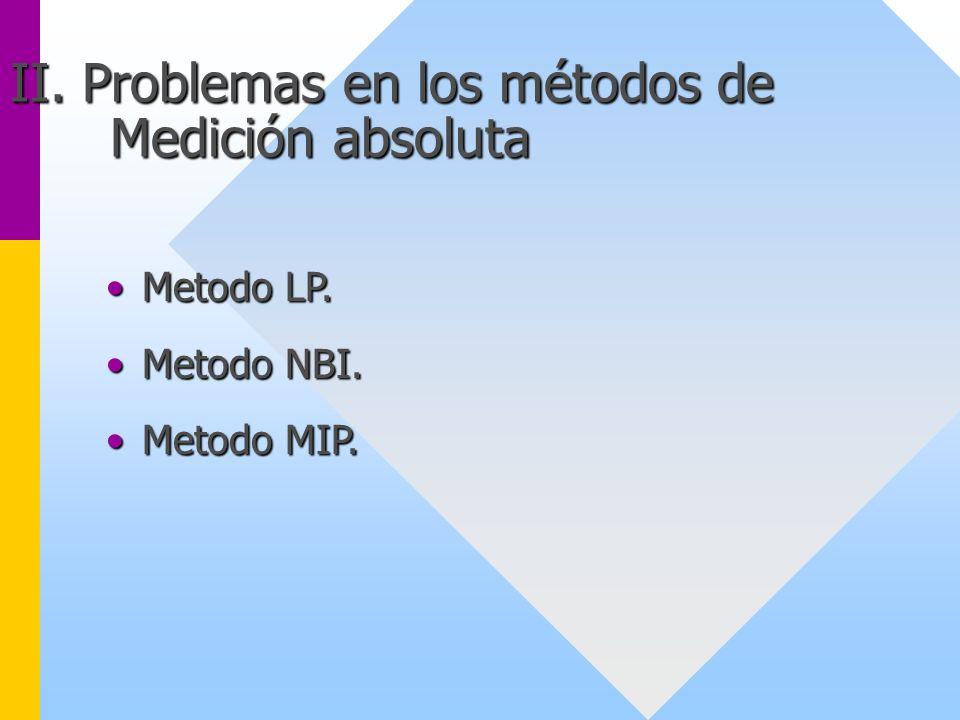 II. Problemas en los métodos de Medición absoluta Metodo LP.Metodo LP. Metodo NBI.Metodo NBI. Metodo MIP.Metodo MIP.