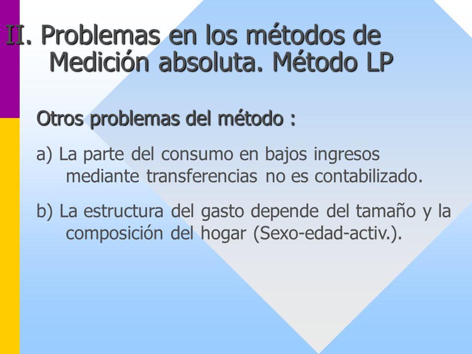 Otros problemas del método : a) La parte del consumo en bajos ingresos mediante transferencias no es contabilizado. b) La estructura del gasto depende