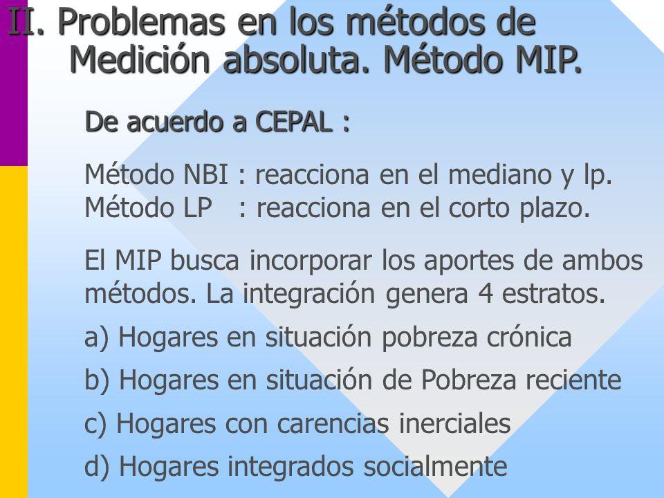 De acuerdo a CEPAL : Método NBI : reacciona en el mediano y lp. Método LP : reacciona en el corto plazo. El MIP busca incorporar los aportes de ambos