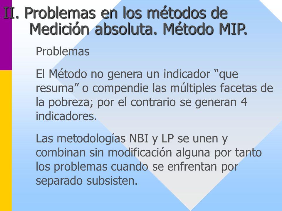 Problemas El Método no genera un indicador que resuma o compendie las múltiples facetas de la pobreza; por el contrario se generan 4 indicadores. Las