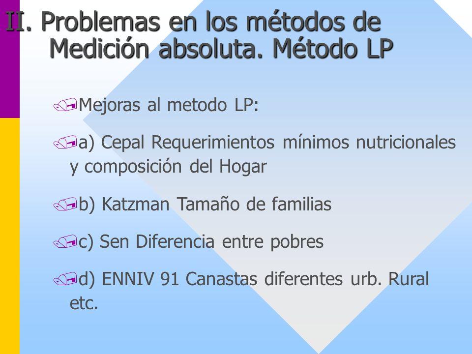/Mejoras al metodo LP: /a) Cepal Requerimientos mínimos nutricionales y composición del Hogar /b) Katzman Tamaño de familias /c) Sen Diferencia entre