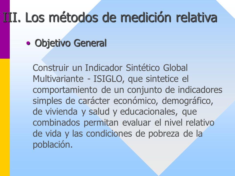 Objetivo GeneralObjetivo General Construir un Indicador Sintético Global Multivariante - ISIGLO, que sintetice el comportamiento de un conjunto de ind