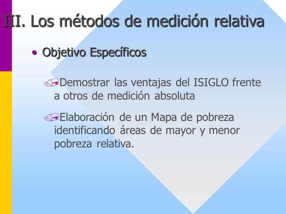 Objetivo EspecíficosObjetivo Específicos /Demostrar las ventajas del ISIGLO frente a otros de medición absoluta /Elaboración de un Mapa de pobreza ide