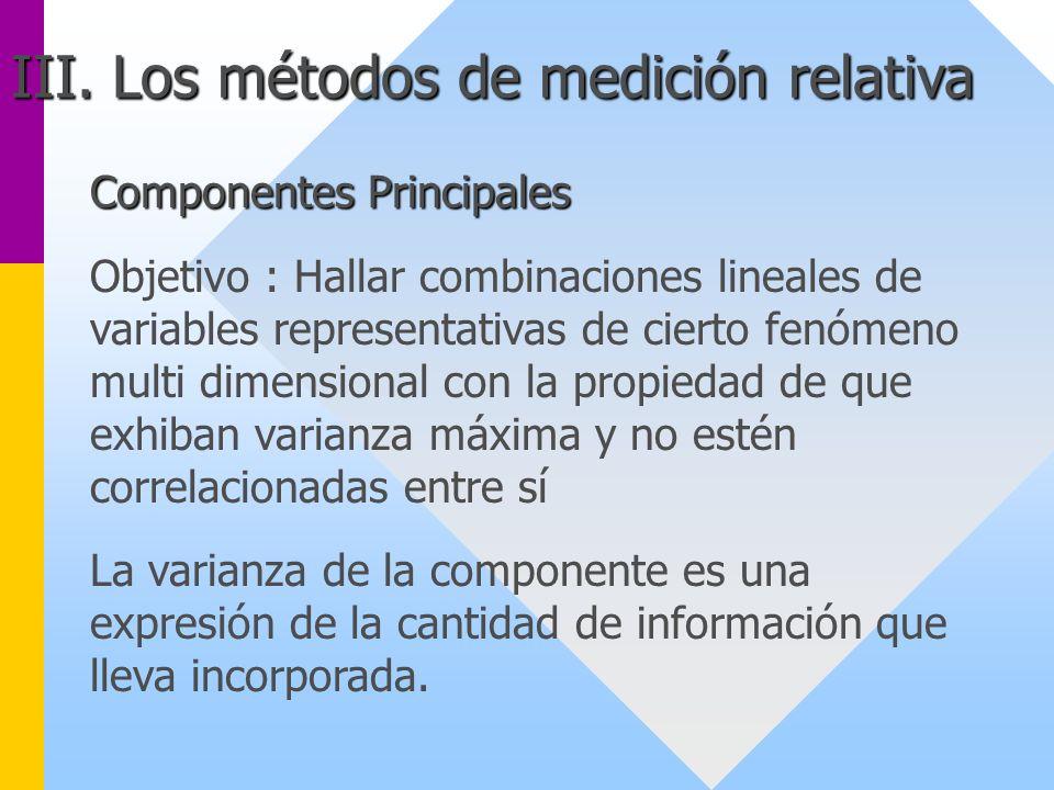 Componentes Principales Objetivo : Hallar combinaciones lineales de variables representativas de cierto fenómeno multi dimensional con la propiedad de