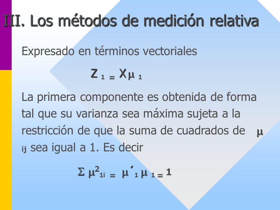 Expresado en términos vectoriales Z X Z 1 = X 1 La primera componente es obtenida de forma tal que su varianza sea máxima sujeta a la restricción de q