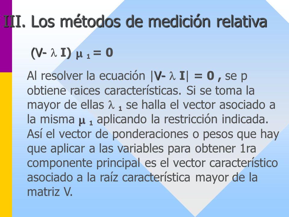 (V- (V- I) 1 = 0 V- Al resolver la ecuación |V- I| = 0, se p obtiene raices características. Si se toma la mayor de ellas 1 se halla el vector asociad