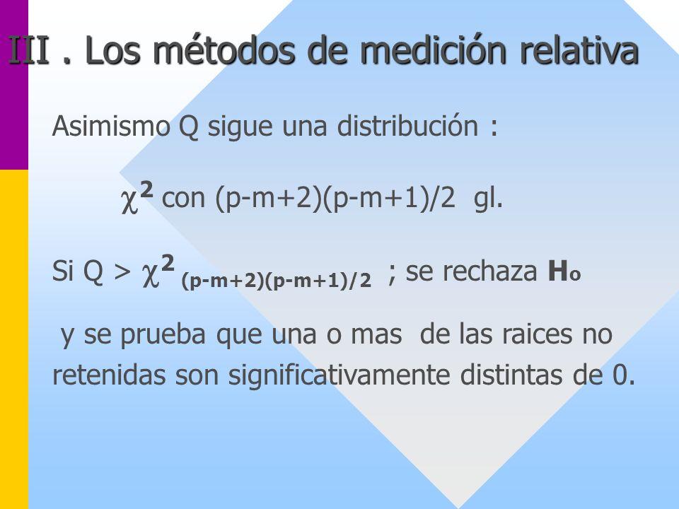 Asimismo Q sigue una distribución : 2 con (p-m+2)(p-m+1)/2 gl. Si Q > 2 (p-m+2)(p-m+1)/2 ; se rechaza H o y se prueba que una o mas de las raices no r