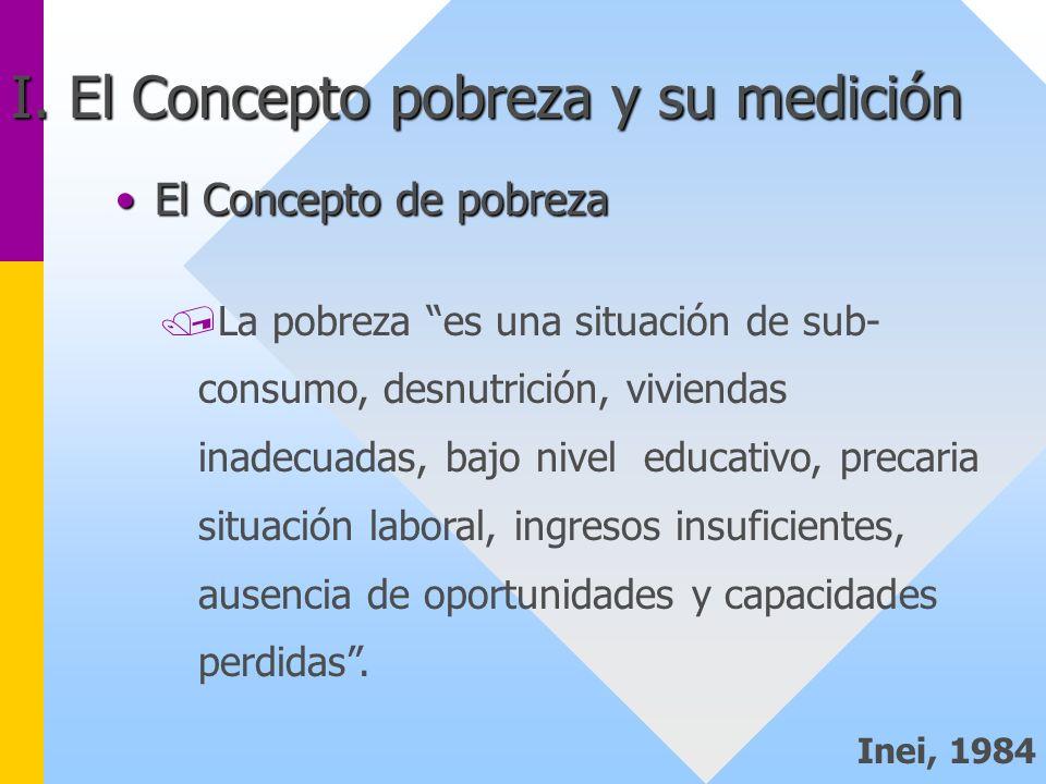 El Concepto de pobrezaEl Concepto de pobreza /La pobreza es una situación de sub- consumo, desnutrición, viviendas inadecuadas, bajo nivel educativo,