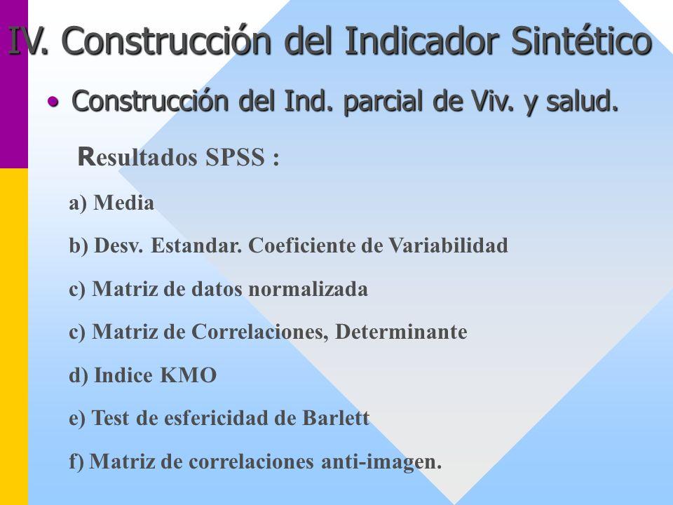IV. Construcción del Indicador Sintético Construcción del Ind. parcial de Viv. y salud.Construcción del Ind. parcial de Viv. y salud. R esultados SPSS