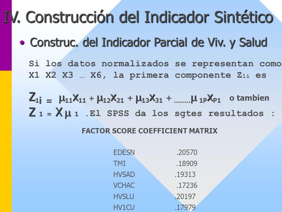 IV. Construcción del Indicador Sintético Construc. del Indicador Parcial de Viv. y SaludConstruc. del Indicador Parcial de Viv. y Salud Si los datos n