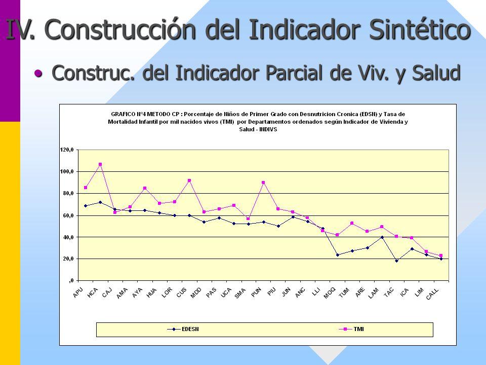 IV. Construcción del Indicador Sintético Construc. del Indicador Parcial de Viv. y SaludConstruc. del Indicador Parcial de Viv. y Salud