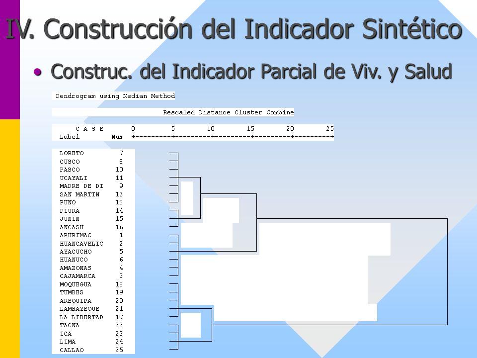 Construc. del Indicador Parcial de Viv. y SaludConstruc. del Indicador Parcial de Viv. y Salud
