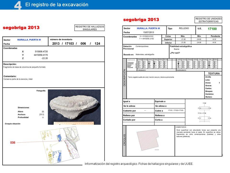 El registro de la excavación 4 Informatización del registro arqueológico. Fichas de hallazgos singulares y de UUEE.