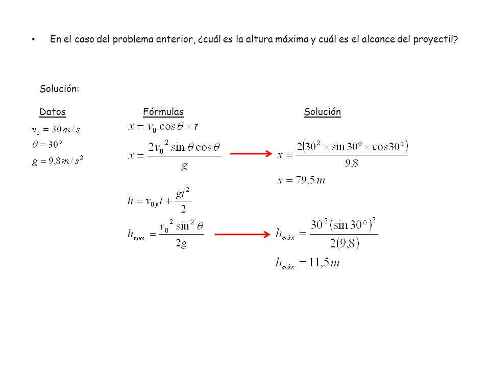En el caso del problema anterior, ¿cuál es la altura máxima y cuál es el alcance del proyectil? Solución: Datos FórmulasSolución