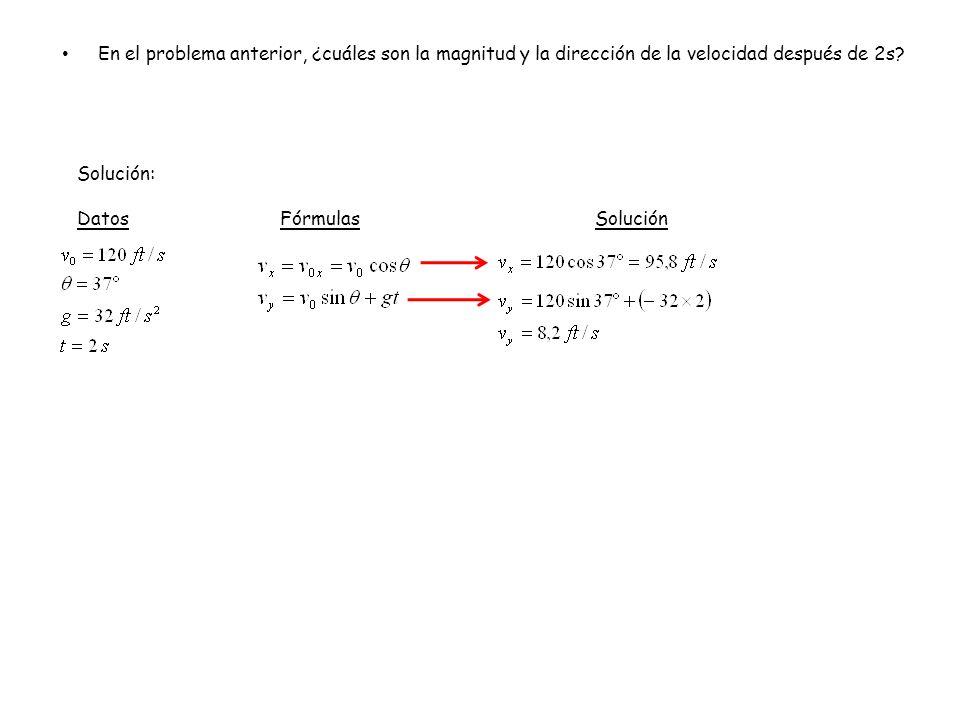 En el problema anterior, ¿cuáles son la magnitud y la dirección de la velocidad después de 2s? Solución: Datos FórmulasSolución