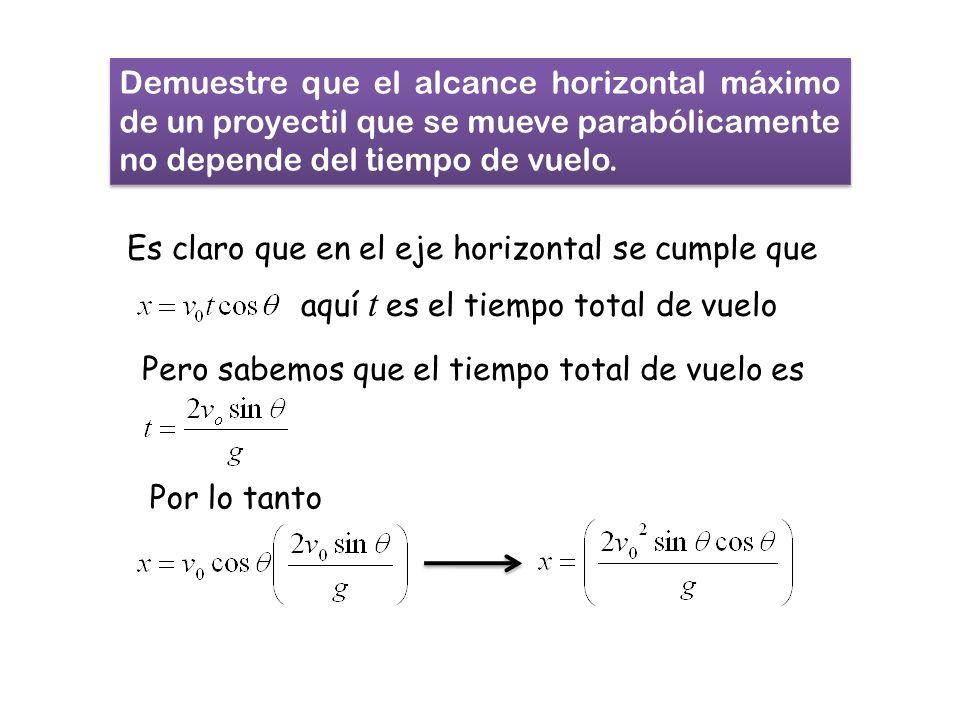 Demuestre que el alcance horizontal máximo de un proyectil que se mueve parabólicamente no depende del tiempo de vuelo. Es claro que en el eje horizon