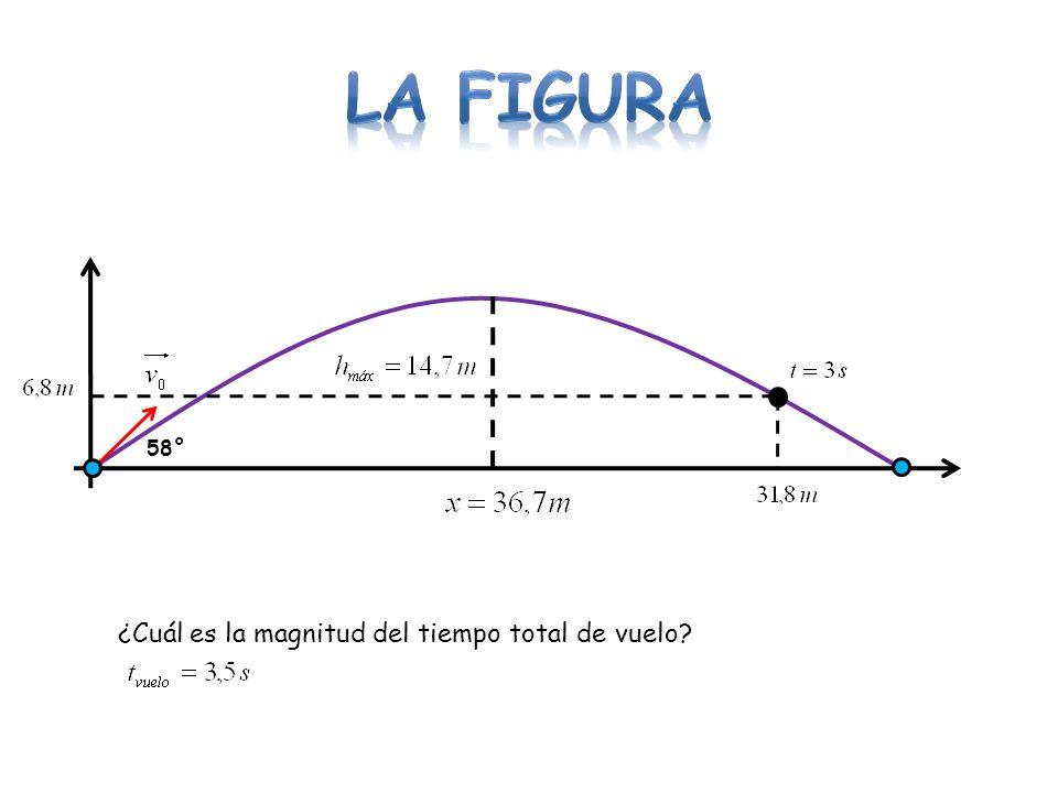 58° ¿Cuál es la magnitud del tiempo total de vuelo?
