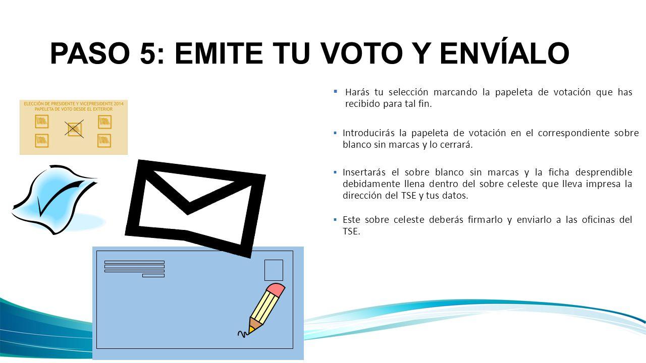 PASO 5: EMITE TU VOTO Y ENVÍALO Harás tu selección marcando la papeleta de votación que has recibido para tal fin. Introducirás la papeleta de votació