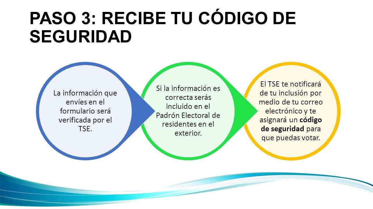 PASO 3: RECIBE TU CÓDIGO DE SEGURIDAD El TSE te notificará de tu inclusión por medio de tu correo electrónico y te asignará un código de seguridad par