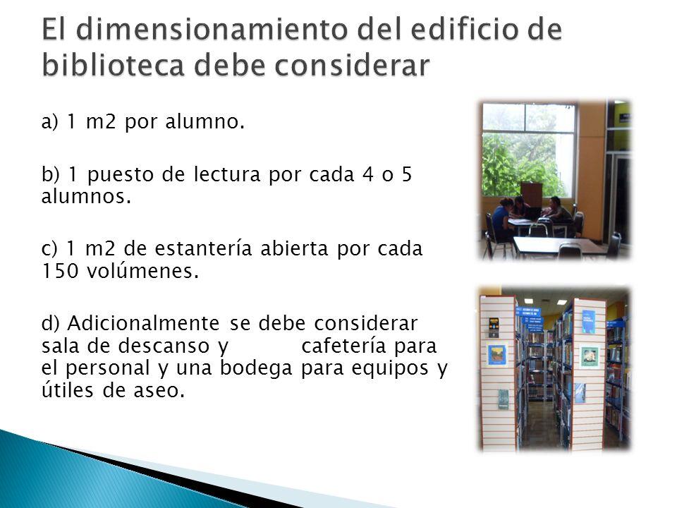 a) 1 m2 por alumno. b) 1 puesto de lectura por cada 4 o 5 alumnos. c) 1 m2 de estantería abierta por cada 150 volúmenes. d) Adicionalmente se debe con