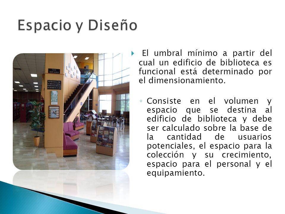 El umbral mínimo a partir del cual un edificio de biblioteca es funcional está determinado por el dimensionamiento. Consiste en el volumen y espacio q