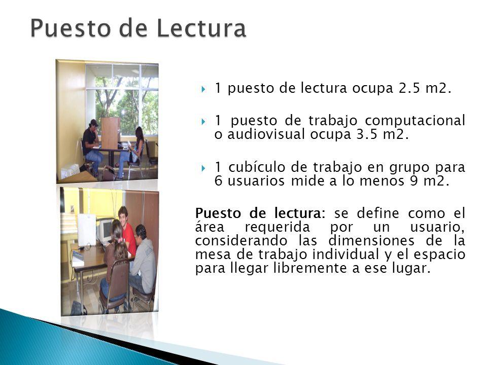 1 puesto de lectura ocupa 2.5 m2. 1 puesto de trabajo computacional o audiovisual ocupa 3.5 m2. 1 cubículo de trabajo en grupo para 6 usuarios mide a