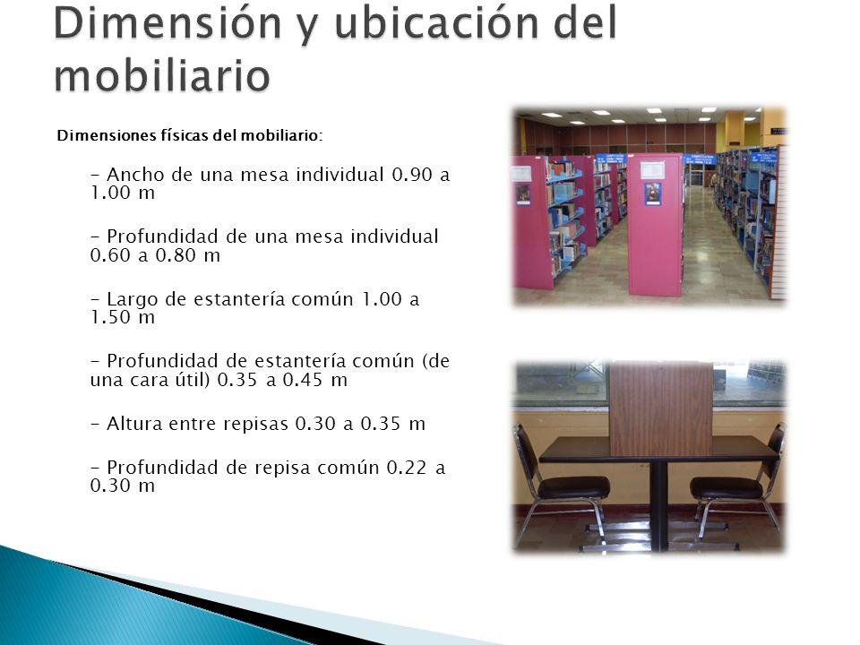 Dimensiones físicas del mobiliario: - Ancho de una mesa individual 0.90 a 1.00 m - Profundidad de una mesa individual 0.60 a 0.80 m - Largo de estante