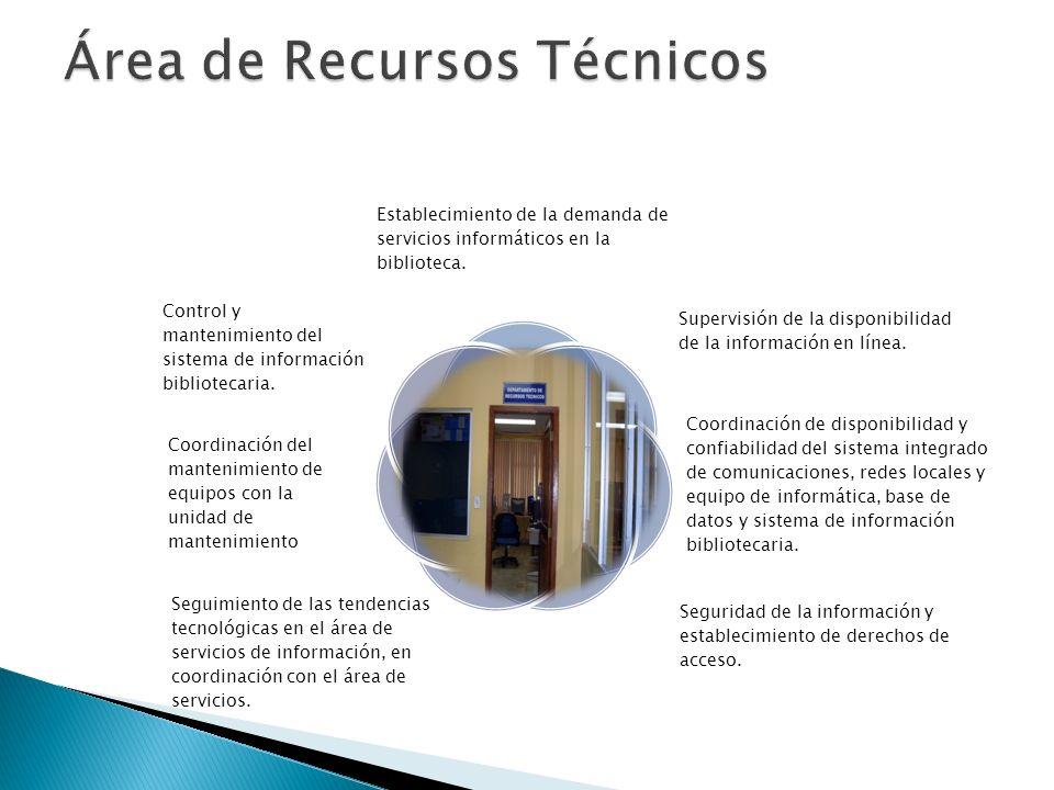 Establecimiento de la demanda de servicios informáticos en la biblioteca. Supervisión de la disponibilidad de la información en línea. Coordinación de