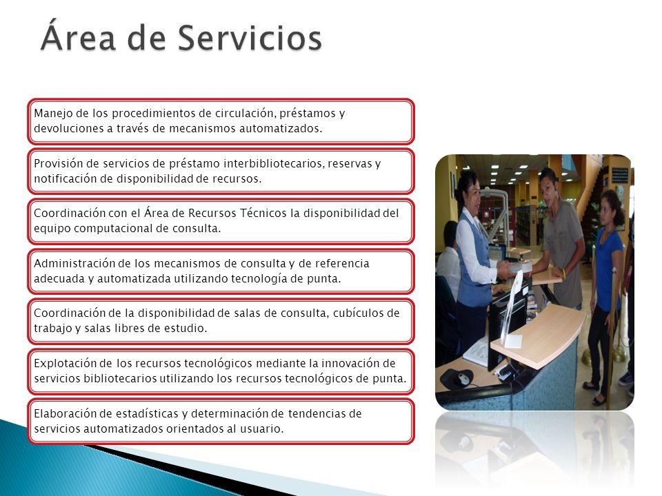 Manejo de los procedimientos de circulación, préstamos y devoluciones a través de mecanismos automatizados. Provisión de servicios de préstamo interbi