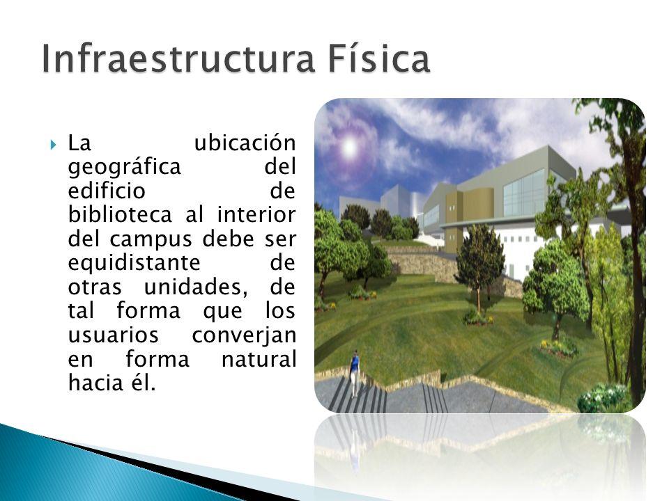 La ubicación geográfica del edificio de biblioteca al interior del campus debe ser equidistante de otras unidades, de tal forma que los usuarios conve