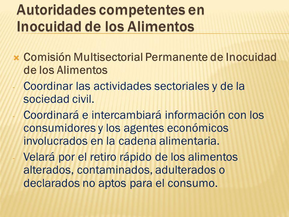 Comisión Multisectorial Permanente de Inocuidad de los Alimentos - Coordinar las actividades sectoriales y de la sociedad civil. - Coordinará e interc