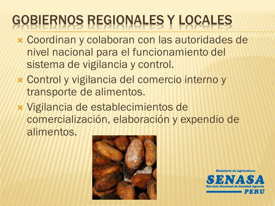 Coordinan y colaboran con las autoridades de nivel nacional para el funcionamiento del sistema de vigilancia y control. Control y vigilancia del comer