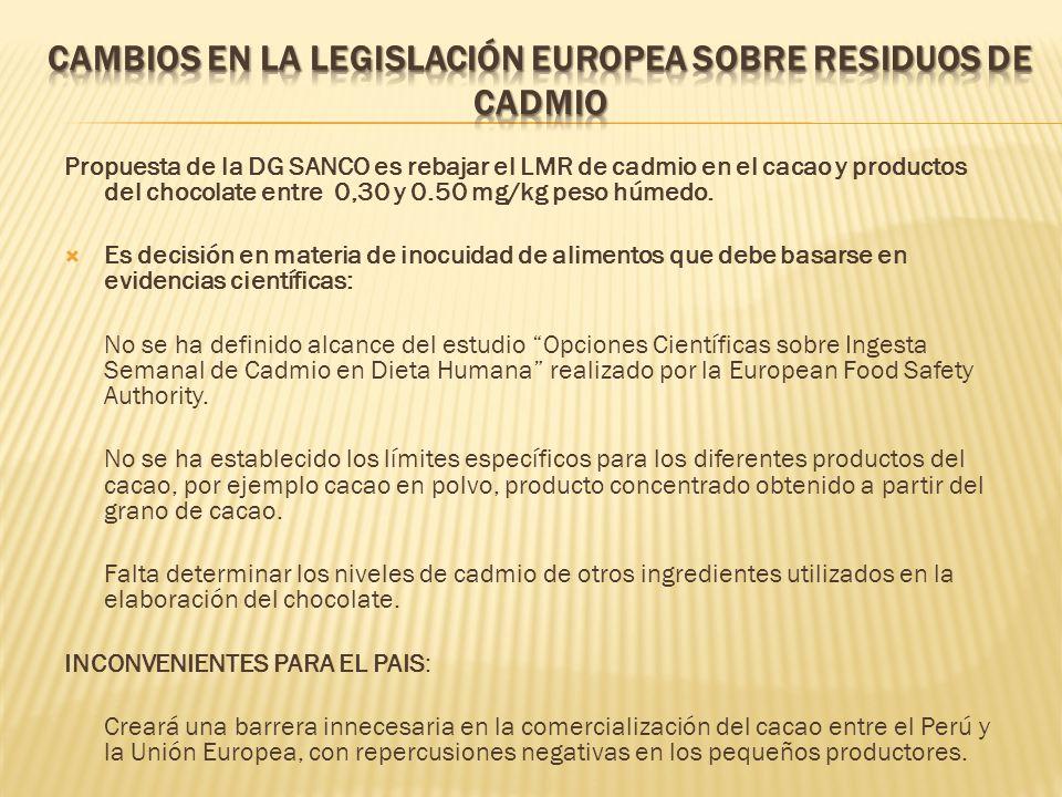 Propuesta de la DG SANCO es rebajar el LMR de cadmio en el cacao y productos del chocolate entre 0,30 y 0.50 mg/kg peso húmedo. Es decisión en materia